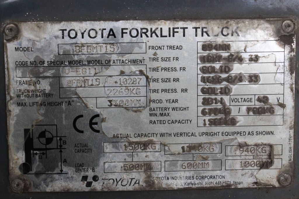 Toyota 8FBMT15 Electric 4-wheel forklift http://www.bsforklifts.com