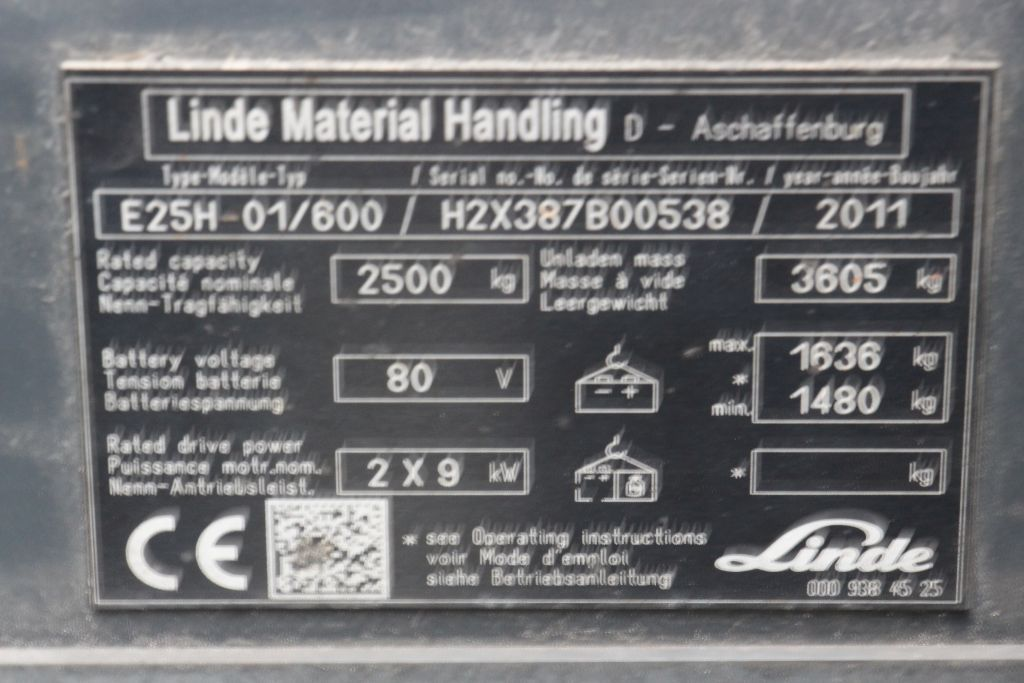 Linde E25H-01/600 Electric 4-wheel forklift www.bsforklifts.com