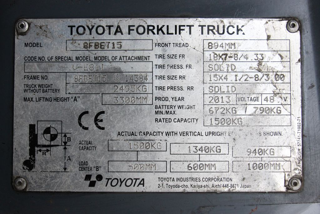 Toyota 8FBET15 Electric 3-wheel forklift http://www.bsforklifts.com