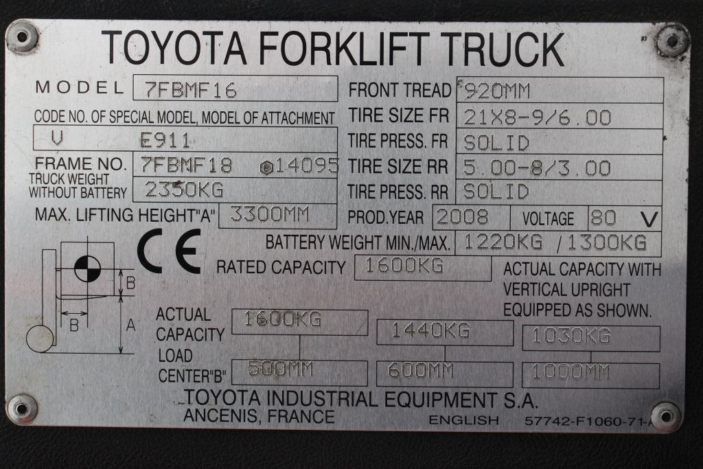 Toyota 7FBMF16 Electric 4-wheel forklift http://www.bsforklifts.com