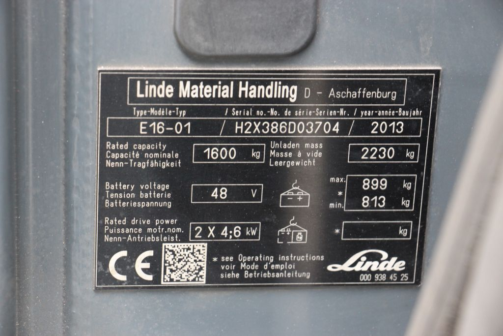 Linde E16-01 Electric 3-wheel forklift www.bsforklifts.com