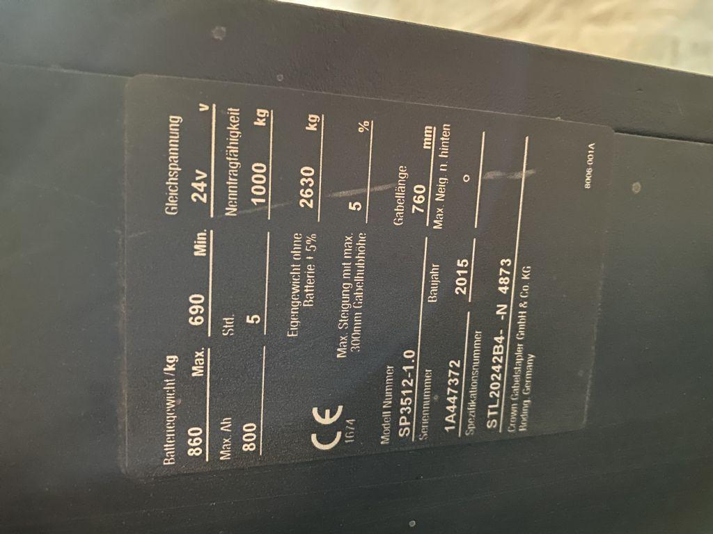 Crown SP 3512-1,0 Baujahr 2015 HH 5130 5 x Vorhanden Hochhubkommissionierer www.gst-logistic.com