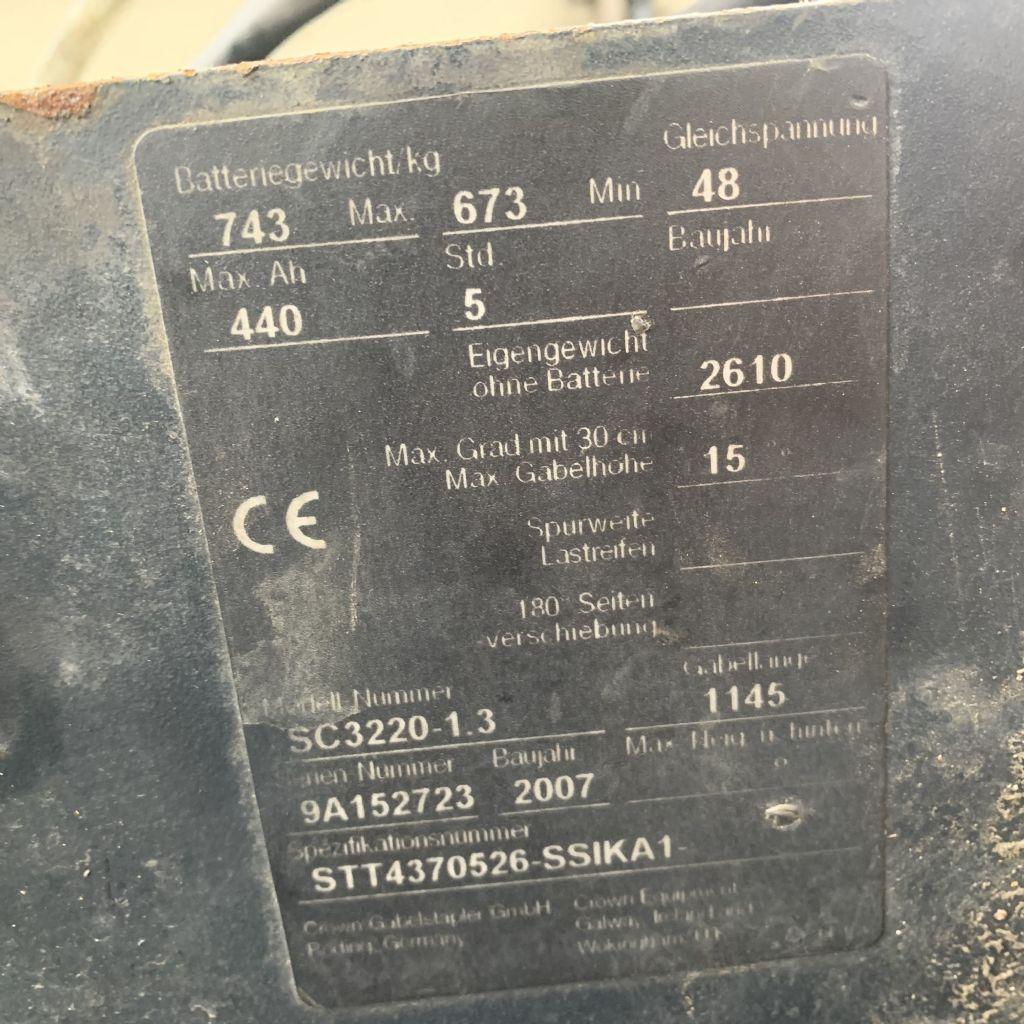 Crown SC 3220-1.3 Stunden 8669 HH 4370 Batterie 2013 Elektro 3 Rad-Stapler www.gst-logistic.com