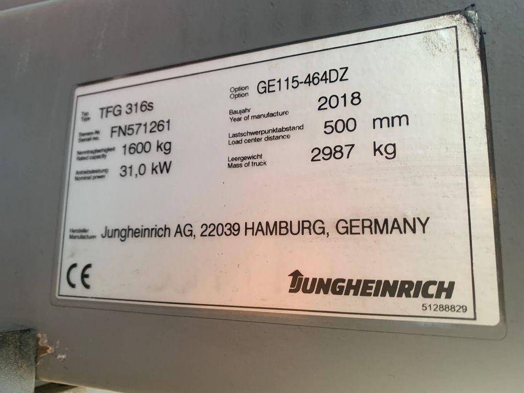 Jungheinrich TFG 316s Baujahr 2018 / Stunden 5080 / HH 5080  Treibgasstapler www.gst-logistic.com