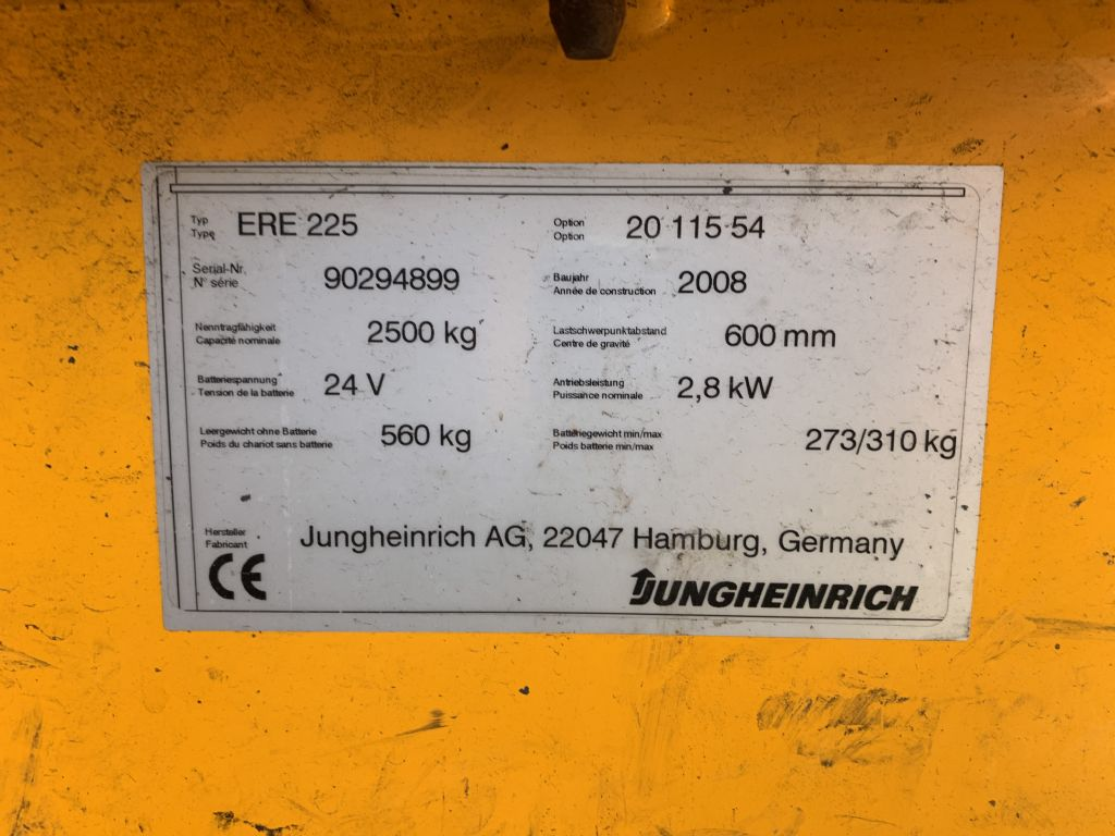 Jungheinrich ERE 225 Baujahr 2008 Stunden 4194  Niederhubkommissionierer www.gst-logistic.com