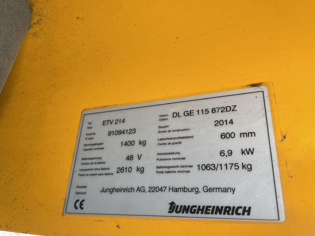 Jungheinrich ETV 214 Baujahr 2014 / Stunden 6970/ HH 8720 Schubmaststapler www.gst-logistic.com