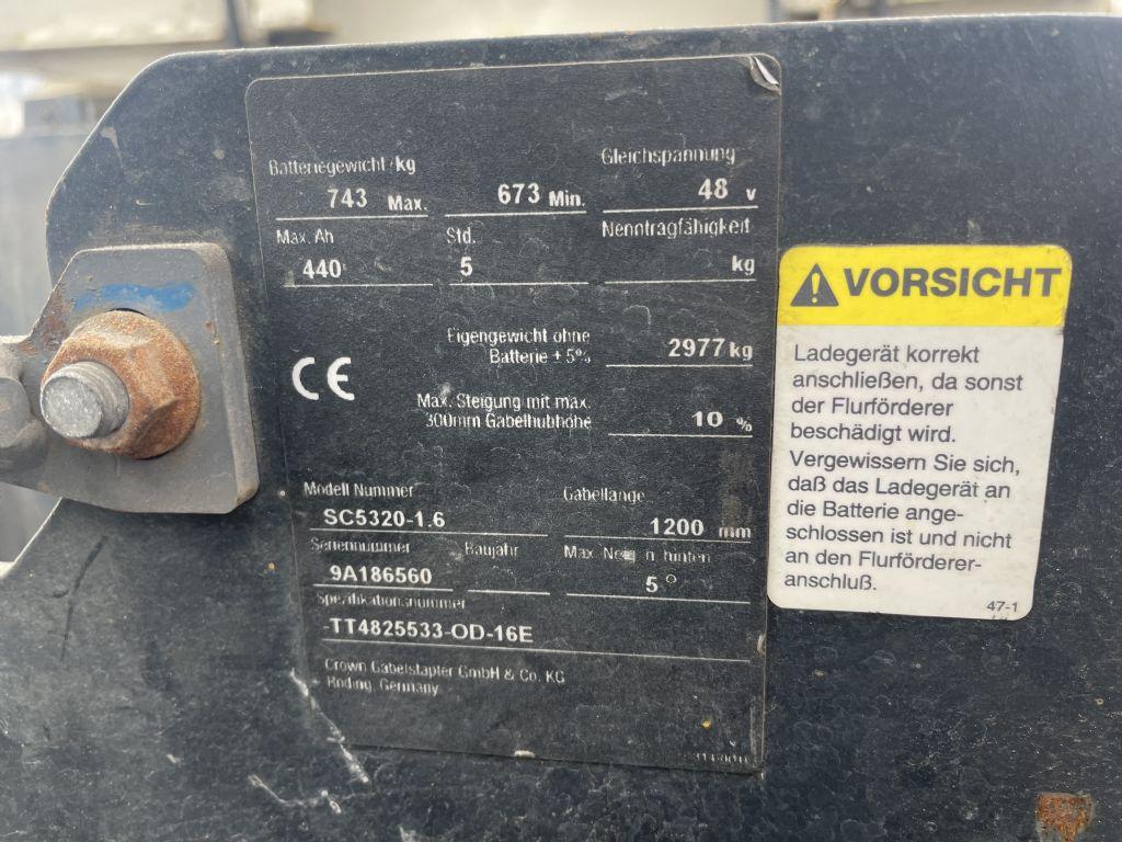 Crown SC 5320-1.6 Defekt Ohne Batterie TRIPLEX Elektro 3 Rad-Stapler www.gst-logistic.com