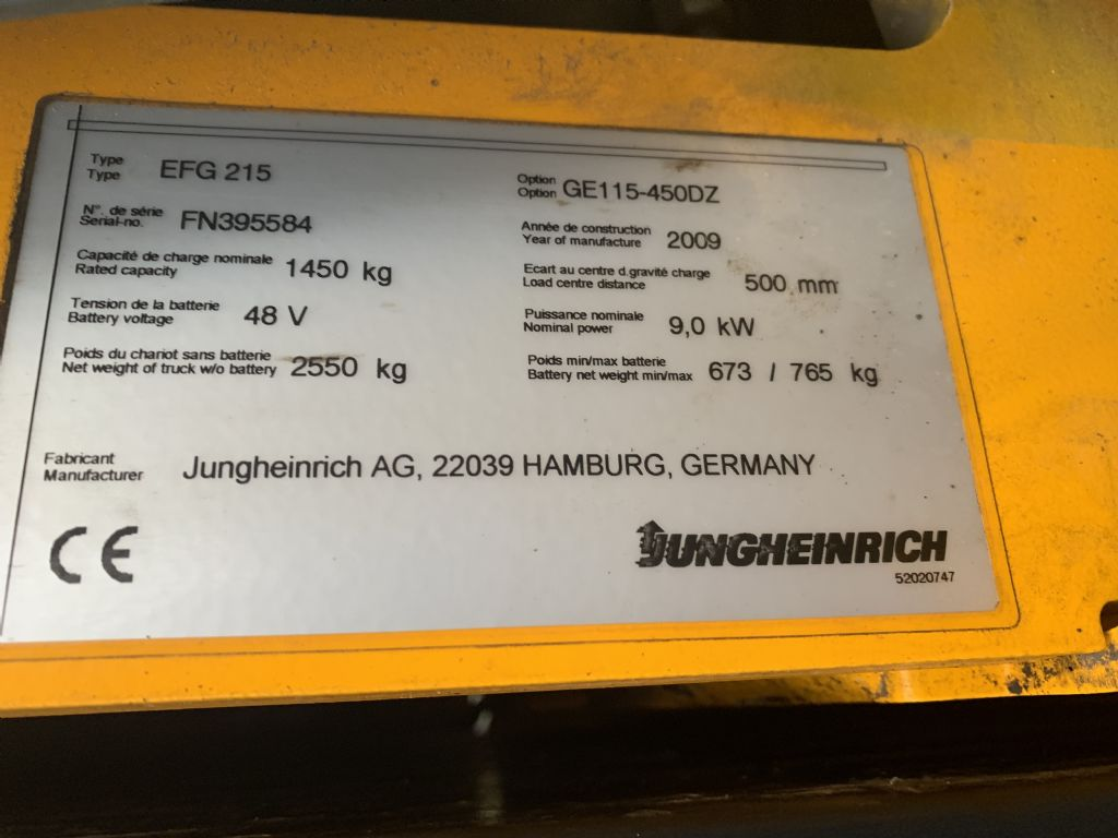 Jungheinrich EFG 215 Baujahr 2009 / Stunden 7229/ HH 4500 Elektro 3 Rad-Stapler www.gst-logistic.com
