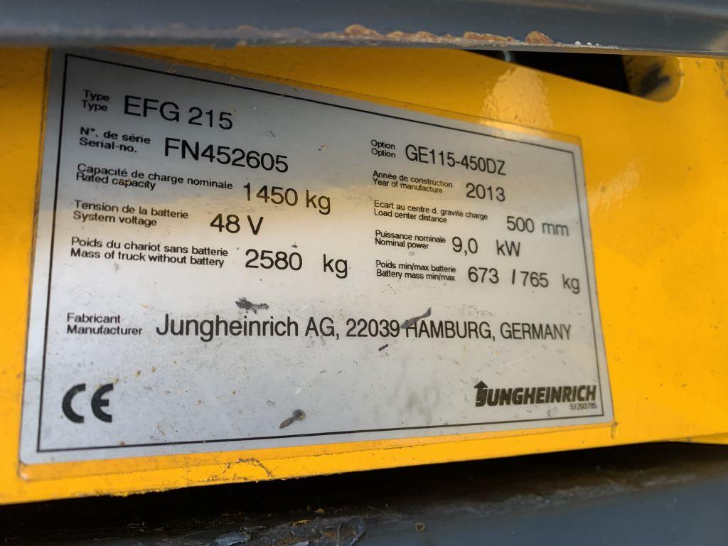 Jungheinrich EFG 215 Baujahr 2013 / Stunden 6238 / HH 4500 Elektro 3 Rad-Stapler www.gst-logistic.com