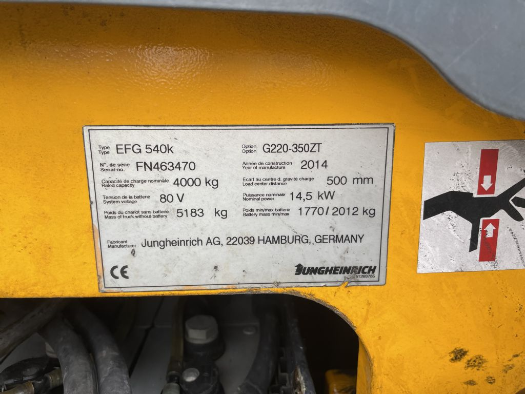 Jungheinrich EFG 540k Baujahr 2014 HH 3500 Batterie 2014 Elektro 4 Rad-Stapler www.gst-logistic.com