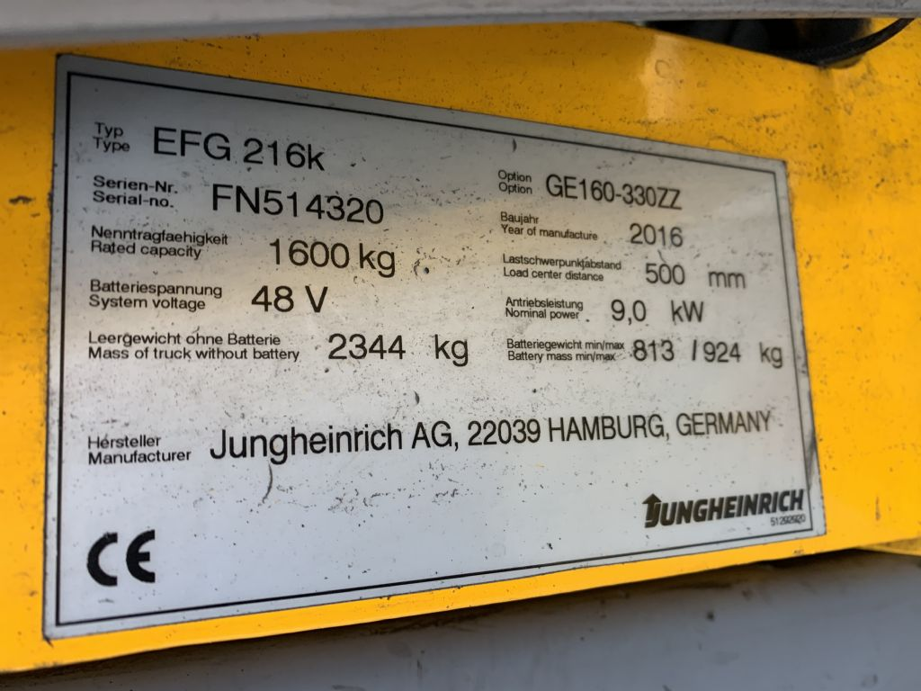 Jungheinrich EFG 216k Baujahr 2016 HH3300 /Stunden 11058 Elektro 3 Rad-Stapler www.gst-logistic.com