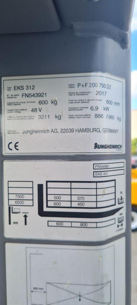 Jungheinrich EKS 312 Baujahr 2017 / HH 7500 / Stunden 891 Hochhubkommissionierer www.gst-logistic.com