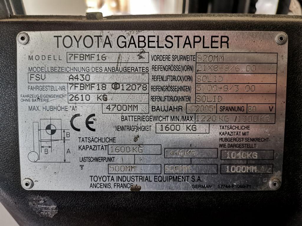 Toyota 7FBMF16 Elektro 4 Rad-Stapler www.heinbockel-gabelstapler.de