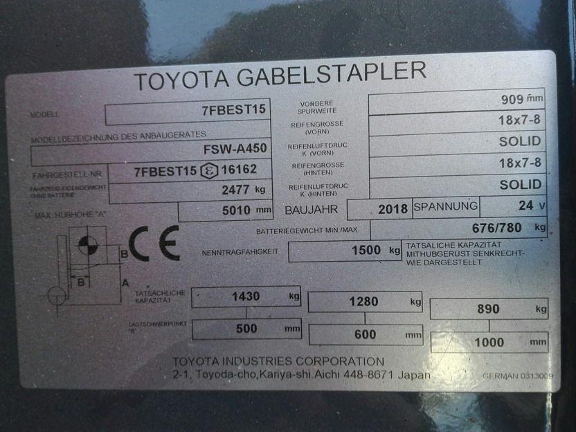 Toyota-7FBEST15-Elektro 3 Rad-Stapler www.kirchner-gabelstapler.de