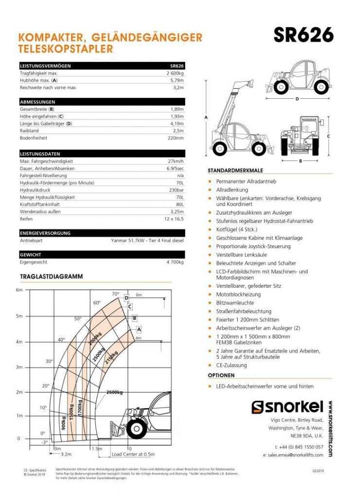 Snorkel SR626 Teleskopstapler starr www.kornetzki-gabelstapler.de