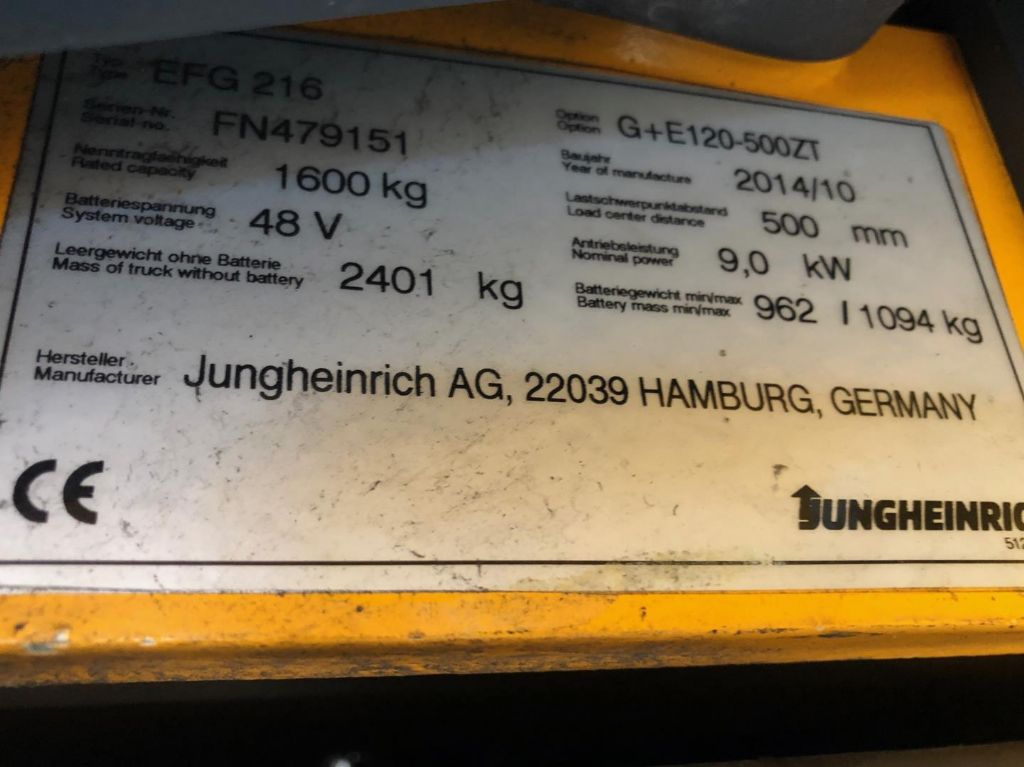 Jungheinrich-EFG 216-Elektro 3 Rad-Stapler www.lifthandling.com