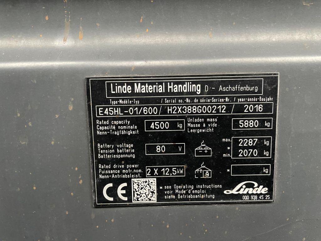 Linde-E45HL-01/600/Batterie 2021-Elektro 4 Rad-Stapler www.lifthandling.com