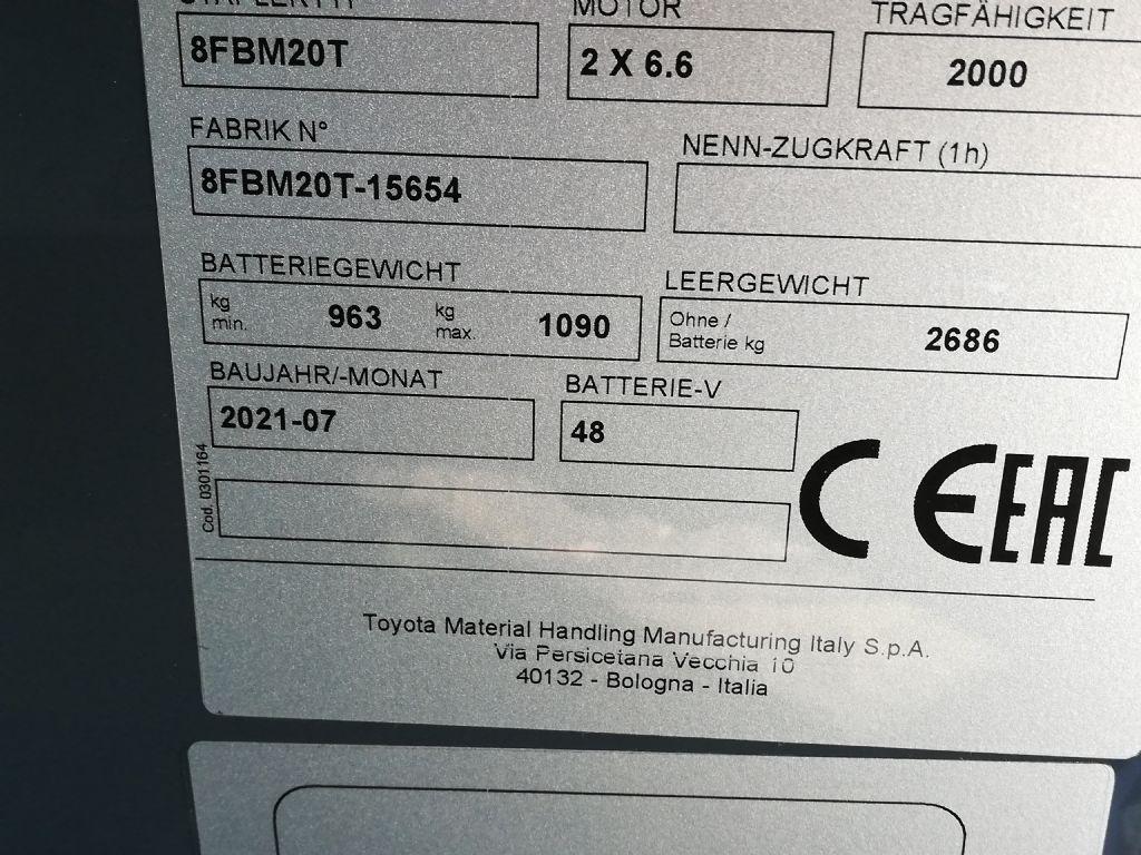 Toyota 8FBM20T Elektro 4 Rad-Stapler dregab.de