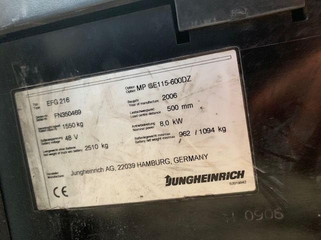 Jungheinrich EFG216 Electric 3-wheel forklift www.staplertechnik.at