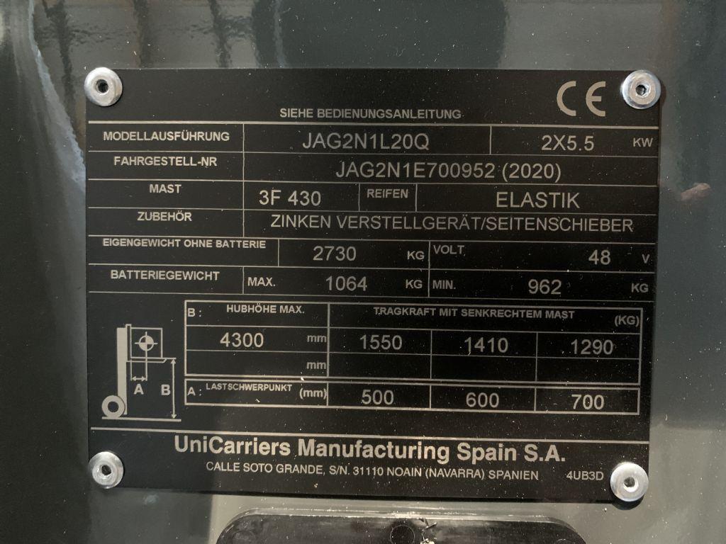 UniCarriers-JAG2N1L20Q-Elektro 4 Rad-Stapler-www.staplertechnik.at