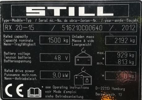 Still RX20-15 Elektro 3 Rad-Stapler www.schmidt-falbe.de