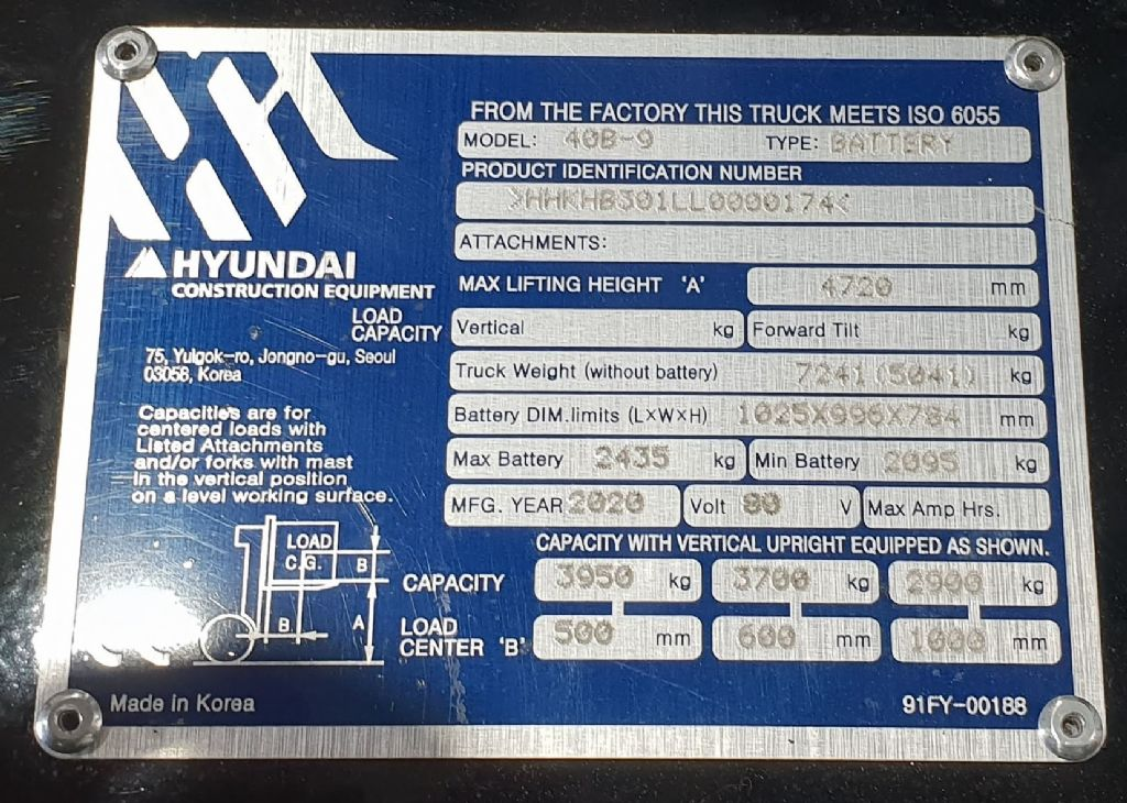 Hyundai 40B-9 Electric 4-wheel forklift www.staplertechnik.at