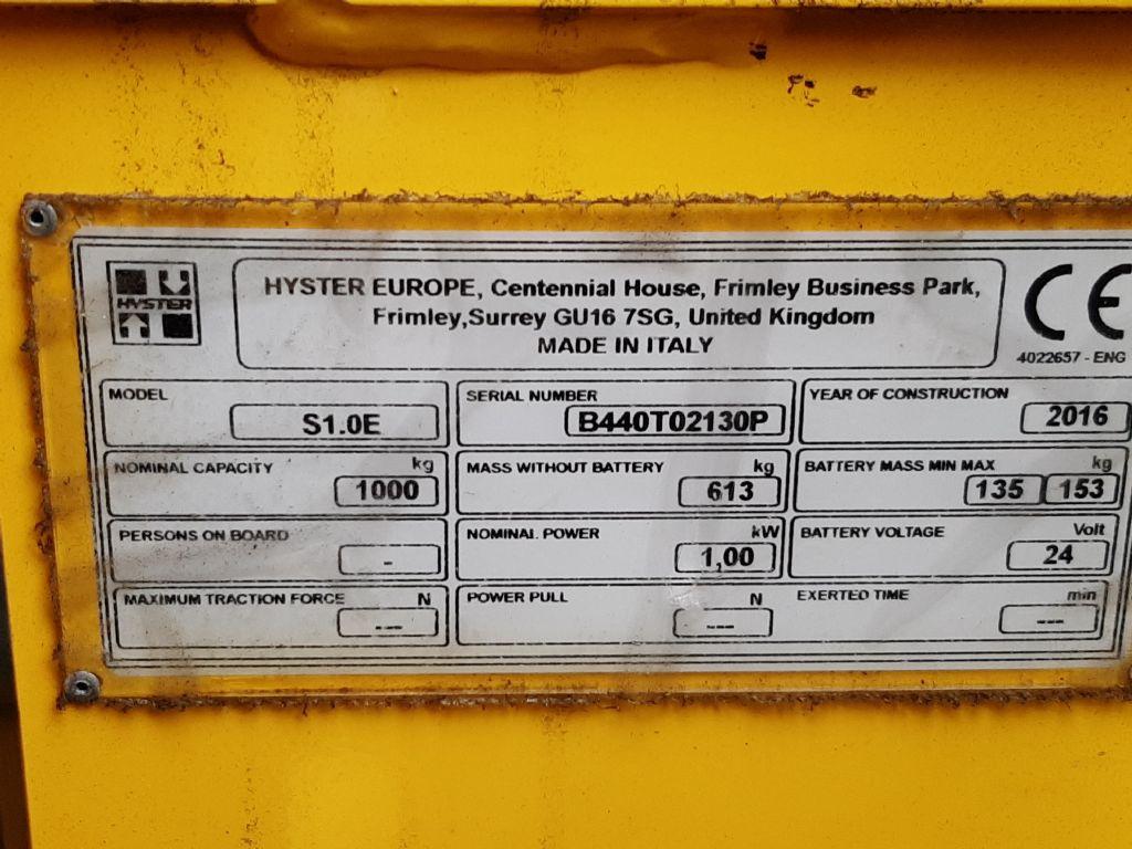 Hyster S1.0E Hochhubwagen www.thuenemann-stapler.de