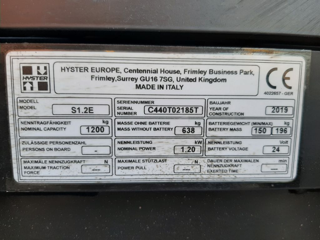 Hyster S1.2E Hochhubwagen www.thuenemann-stapler.de