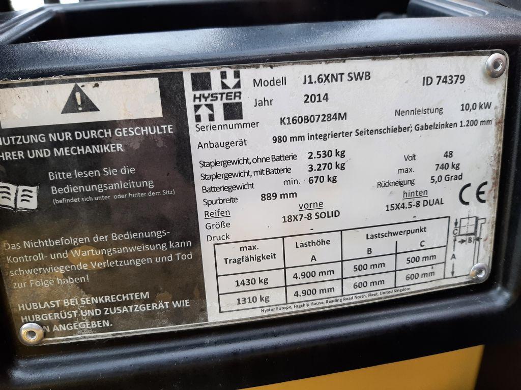 Hyster J1.6 XNT SWB Elektro 3 Rad-Stapler www.thuenemann-stapler.de