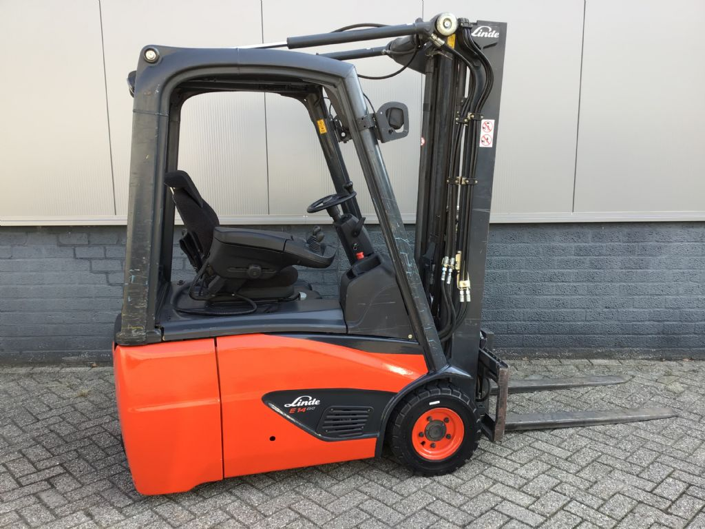 Linde E14-02 / 386 Electric 3-wheel forklift www.wtrading.nl